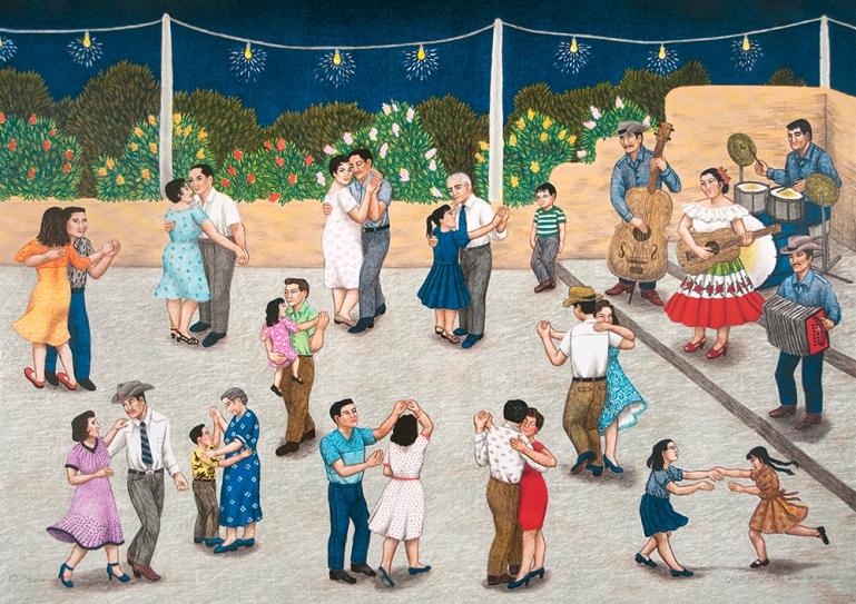 Baile, Carmen Lomas Garza. 2001 Lithograph, ed. 80 26 by 36 inches