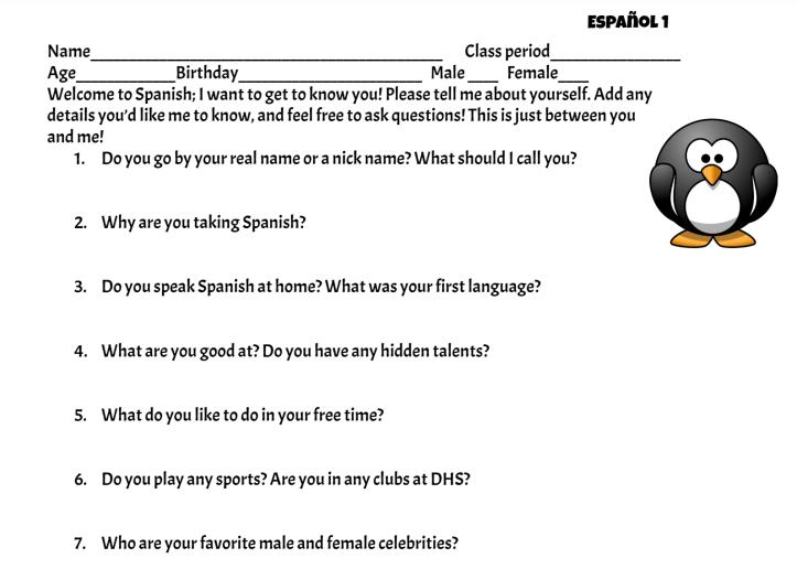 Student interest survey, part 1