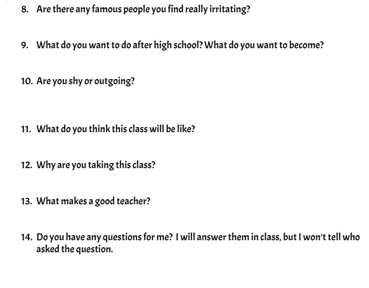 Student interest survey, part 2